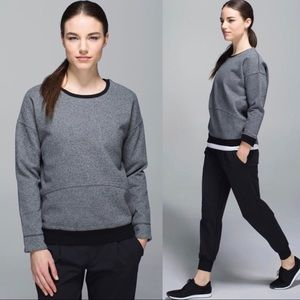 Lululemon Keep Up Crew Pullover Gray Black Sz 8